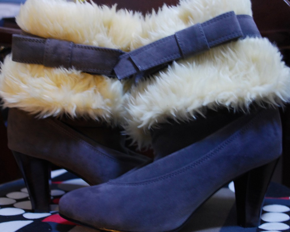 Gray Suede Winter Boots