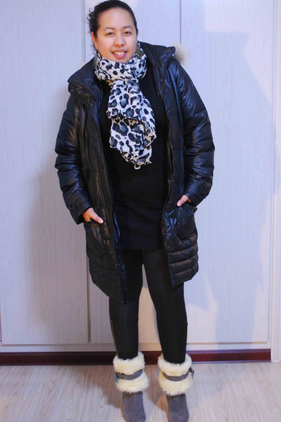 bubble jacket + animal print scarf + suede boots