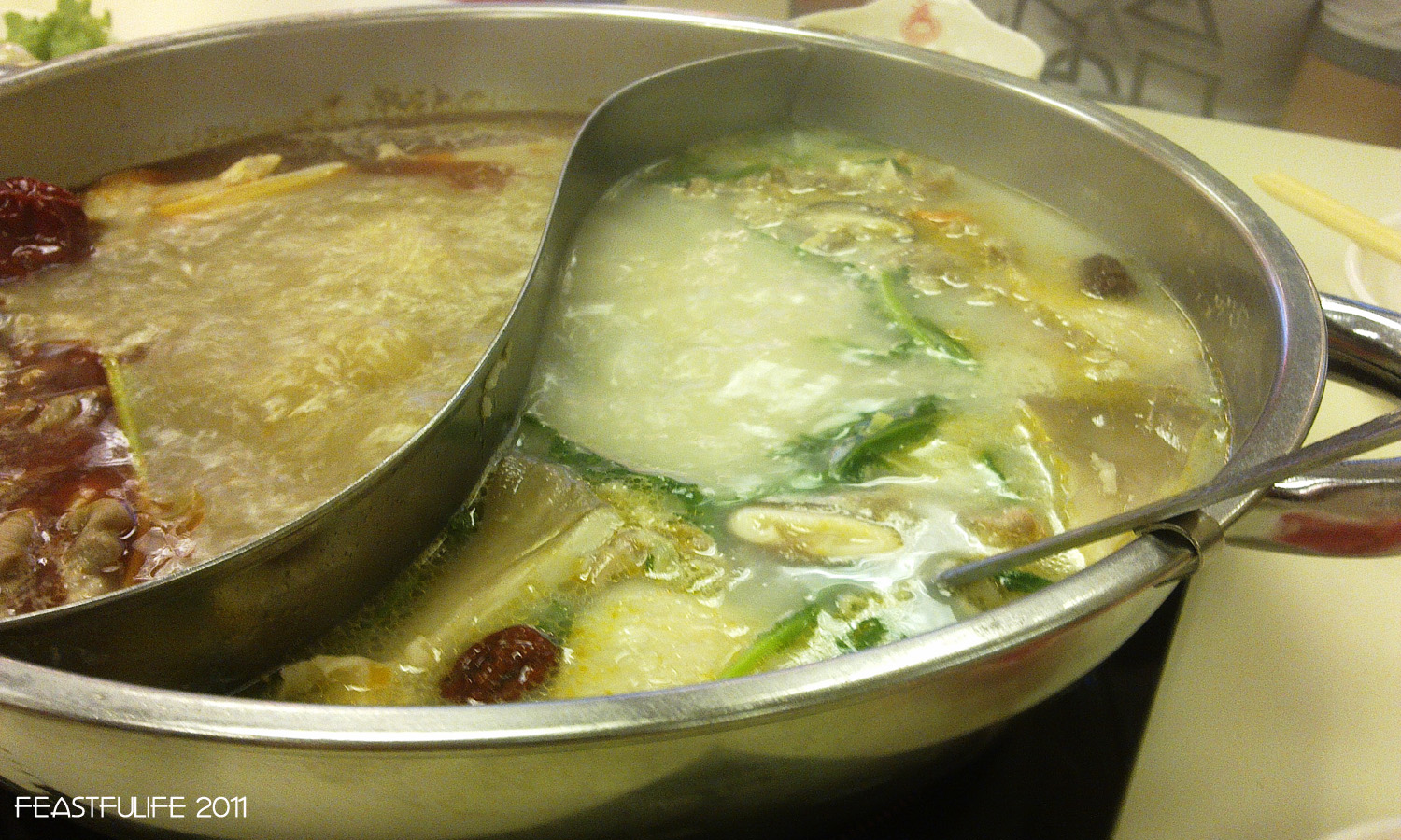 our hot pot with all the vegies and meat inside