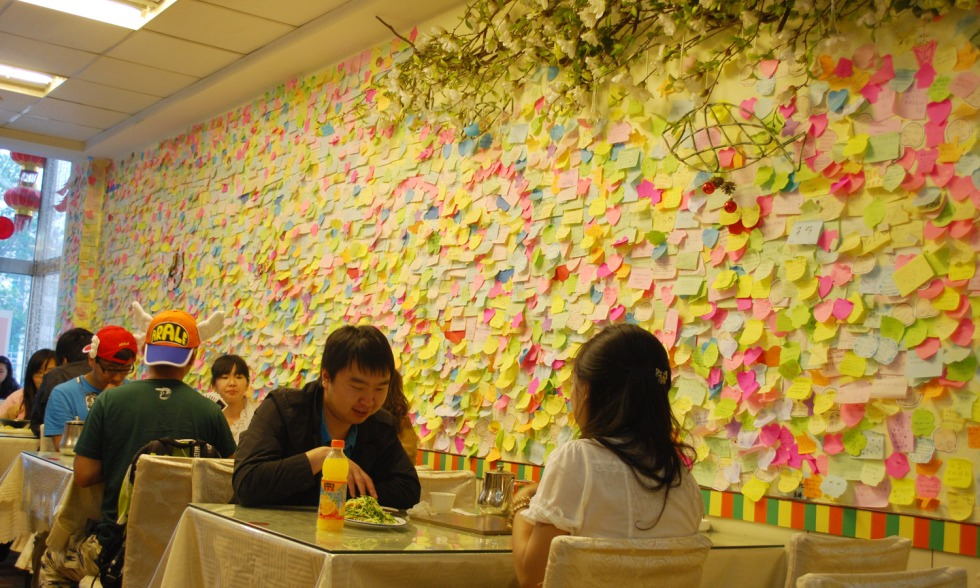 ambiance inside the resto, hanging memo are shout-out's from well loved customers