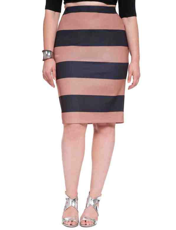 Striped Scuba Pencil Skirt